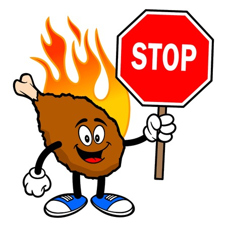 Hot Wing Mascot with Stop Sign - A cartoon illustration of a flaming Buffalo Wing Mascot.