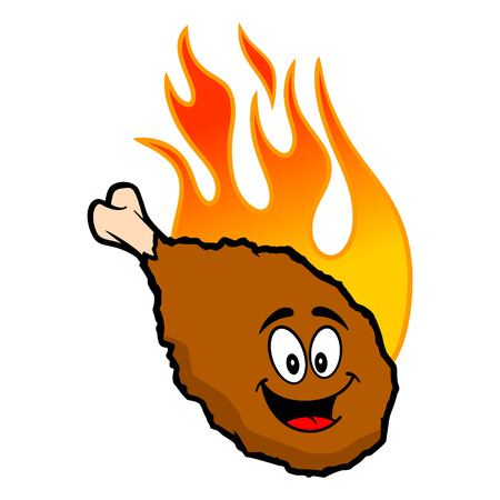 Hot Wing Mascot - A cartoon illustration of a flaming Buffalo Wing Mascot.