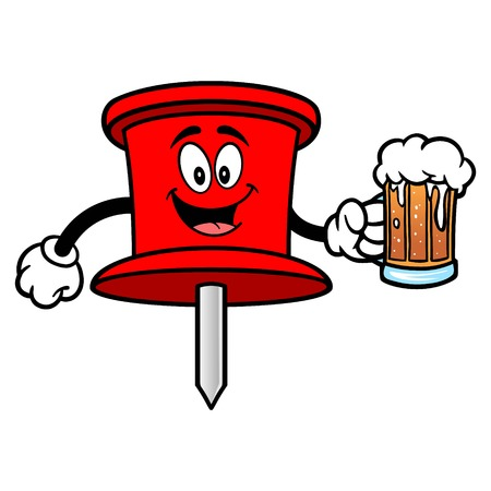 Push Pin Mascot with a Beer - A vector cartoon illustration of an office Push Pin mascot.  イラスト・ベクター素材