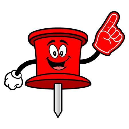 Push Pin Mascot with a Foam Hand - A vector cartoon illustration of an office Push Pin mascot.
