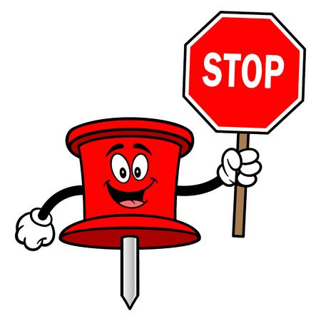 Push Pin Mascot with a Stop Sign - A vector cartoon illustration of an office Push Pin mascot.