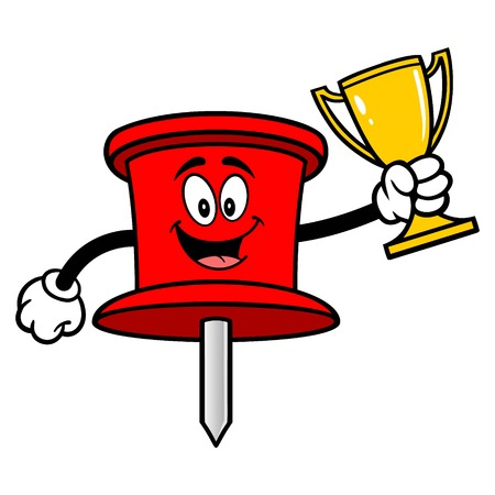 Push Pin Mascot with a Trophy - A vector cartoon illustration of an office Push Pin mascot. Banco de Imagens - 122787291