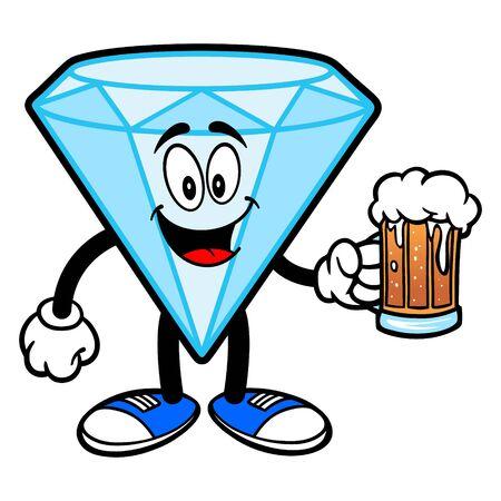 Diamond Mascot with a Beer - A cartoon illustration of a Diamond Mascot.