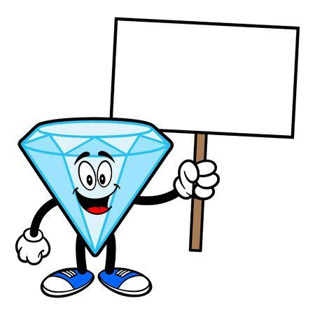 Diamond Mascot with a Sign - A cartoon illustration of a Diamond Mascot. Illusztráció