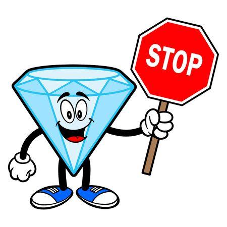 Diamond Mascot with a Stop Sign - A cartoon illustration of a Diamond Mascot.