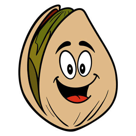 Pistachio Nut Mascot - A cartoon illustration of a Pistachio Nut Mascot.