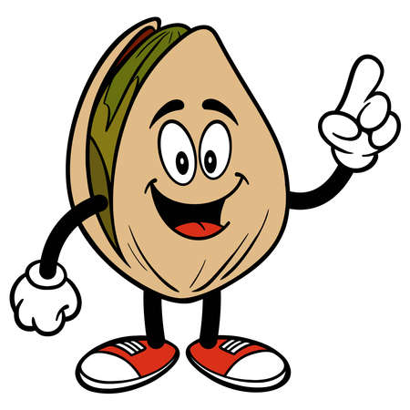 Pistachio Nut  Pointing - A cartoon illustration of a Pistachio Nut mascot pointing.