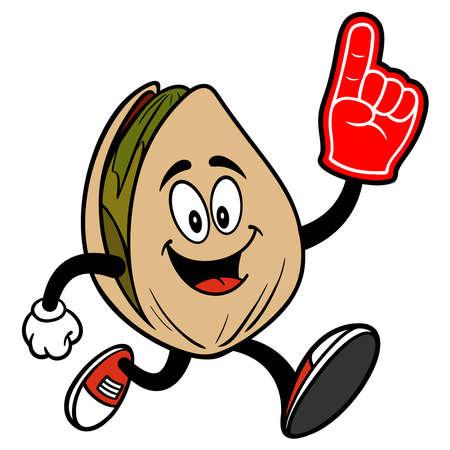 Pistachio Nut Running with a Foam Hand - A cartoon illustration of a Pistachio Nut Running with a Foam Hand.