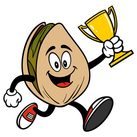 Pistachio Nut Running with a Trophy - A cartoon illustration of a Pistachio Nut Running with a Trophy.