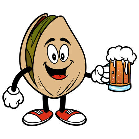 Pistachio Nut with a mug of Beer - A cartoon illustration of a Pistachio Nut with a mug of Beer. Stock Illustratie