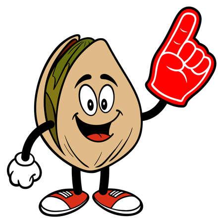 Pistachio Nut with a Foam Hand - A cartoon illustration of a Pistachio Nut with a Foam Hand.