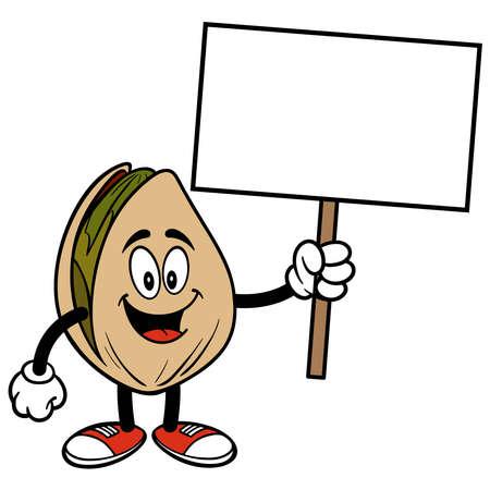 Pistachio Nut  holding a Sign - A cartoon illustration of a Pistachio Nut holding a blank Sign. Иллюстрация