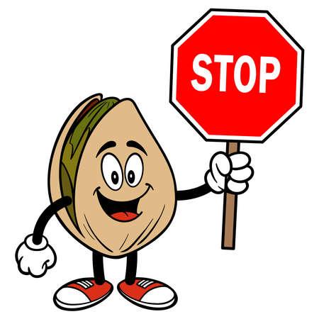 Pistachio Nut with a Stop Sign - A cartoon illustration of a Pistachio Nut with a Stop Sign.