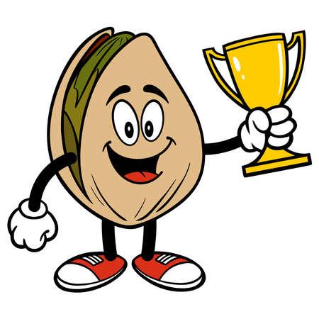Pistachio Nut  holding a Trophy - A cartoon illustration of a Pistachio Nut holding a Trophy. 일러스트