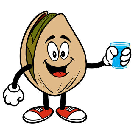 Pistachio Nut Drinking a Glass of Water - A cartoon illustration of a Pistachio Nut Drinking a Glass of Water.