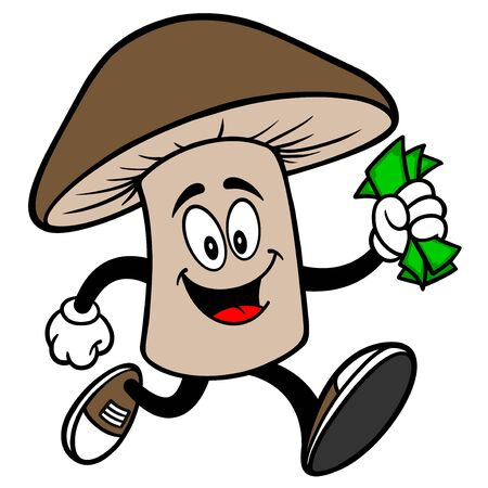 Shiitake Mushroom running with Money - A cartoon illustration of a Shiitake Mushroom Mascot.