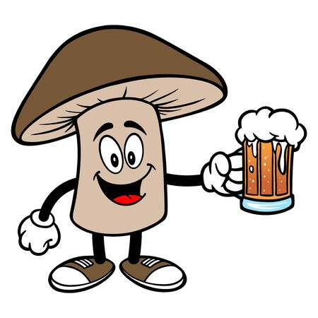 Shiitake Mushroom with a Beer - A cartoon illustration of a Shiitake Mushroom Mascot. 向量圖像