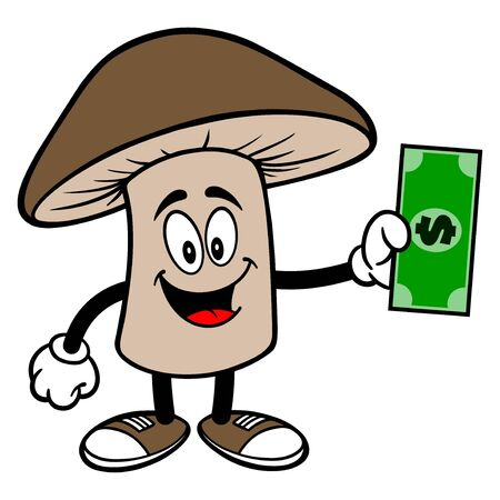 Shiitake Mushroom with a Dollar - A cartoon illustration of a Shiitake Mushroom Mascot.