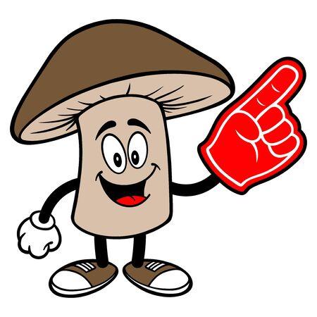 Shiitake Mushroom with a Foam Hand - A cartoon illustration of a Shiitake Mushroom Mascot.
