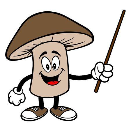 Grzyb Shiitake ze wskaźnikiem - ilustracja kreskówka z maskotką grzyba shiitake. Ilustracje wektorowe