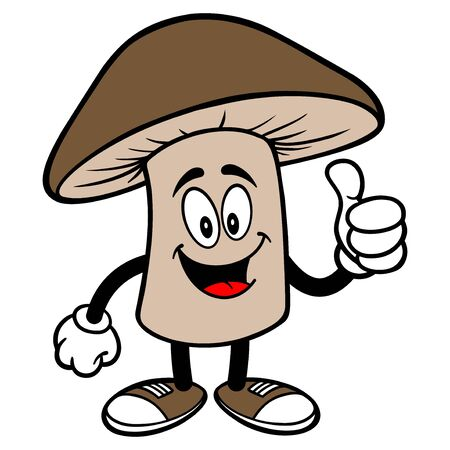 Shiitake Mushroom with Thumbs Up - A cartoon illustration of a Shiitake Mushroom Mascot. 向量圖像