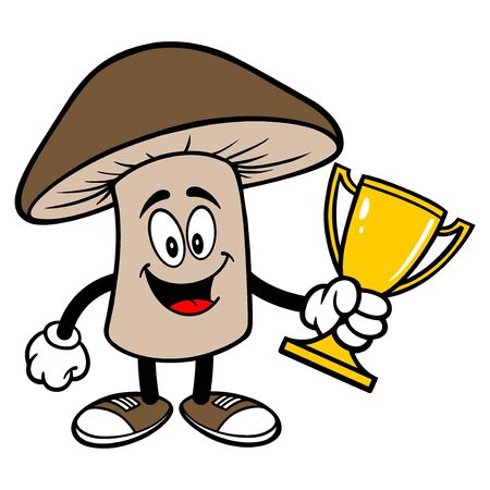 Shiitake Mushroom with a Trophy - A cartoon illustration of a Shiitake Mushroom Mascot.  イラスト・ベクター素材