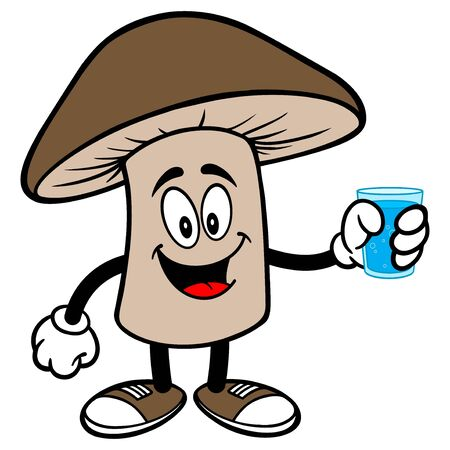 Shiitake Mushroom with a glass of Water - A cartoon illustration of a Shiitake Mushroom Mascot.