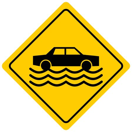 Flash Flood Zone - A cartoon illustration of a Flash Flood Sign.