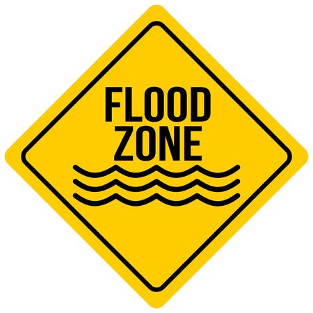 Flood Zone Sign - A cartoon illustration of a Flash Flood Sign. Illusztráció