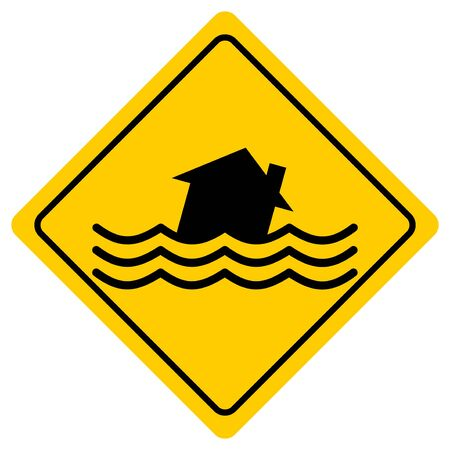 Flood Zone - A cartoon illustration of a Flash Flood Sign.