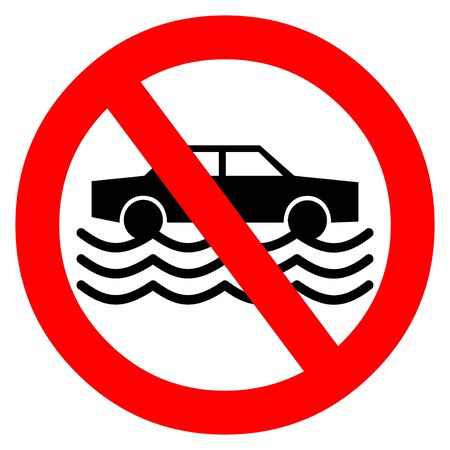 No Driving in Flood Waters - A cartoon illustration of a Flash Flood Sign.