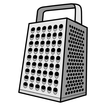 Cheese Grater - A cartoon illustration of a steel cheese grater.