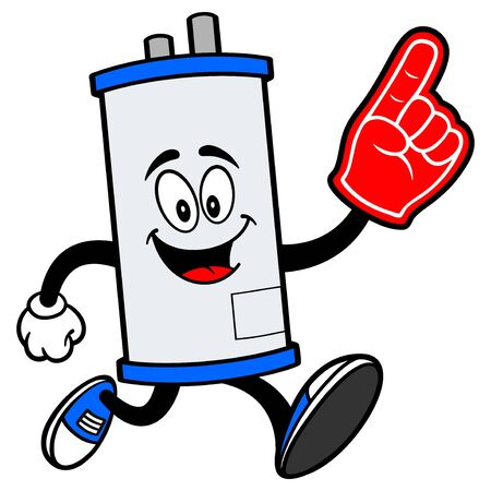 Water Heater Running with a Foam Hand - A cartoon illustration of a Water Heater Mascot running with a Foam Hand. Illusztráció