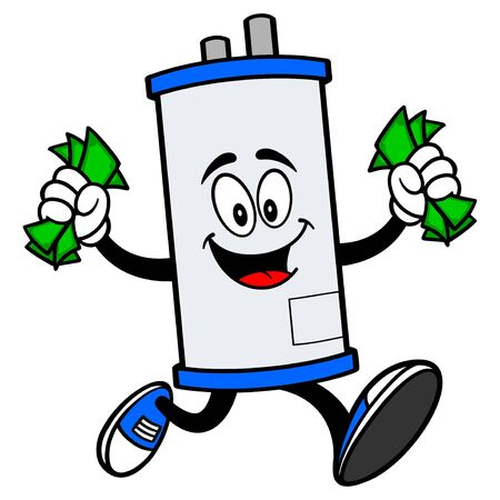 Water Heater Running with Money - A cartoon illustration of a Water Heater Mascot running with Money.