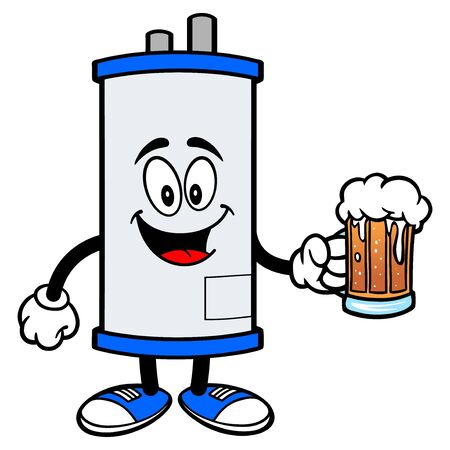 Water Heater with a Beer - A cartoon illustration of a Water Heater Mascot with a mug of Beer.