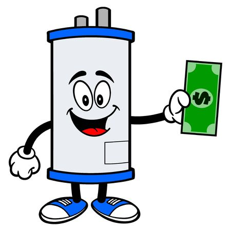 Water Heater with a Dollar - A cartoon illustration of a Water Heater Mascot with a Dollar. Illusztráció