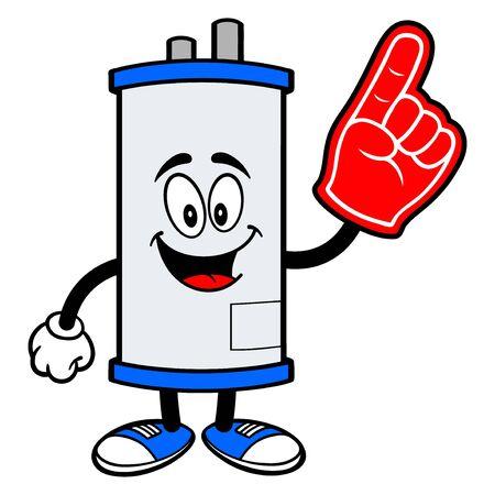 Water Heater with a Foam Hand - A cartoon illustration of a Water Heater Mascot with a Foam Hand.