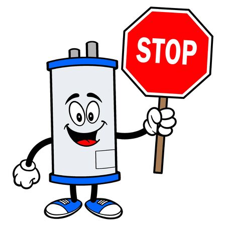 Water Heater with a Stop Sign - A cartoon illustration of a Water Heater Mascot with a Stop Sign.