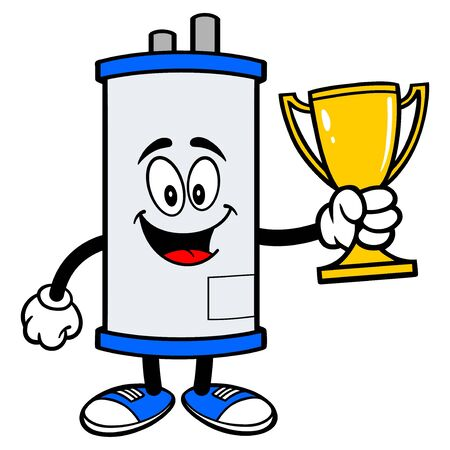Water Heater with a Trophy - A cartoon illustration of a Water Heater Mascot with a Trophy.