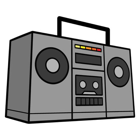 Boom Box - A cartoon illustration of a Retro Ghetto Blaster. Çizim