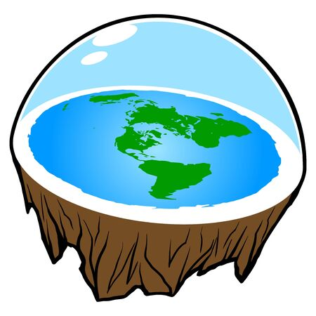 Flat Earth - A cartoon illustration of a Flat Earth concept.