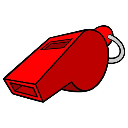 Whistle - A cartoon illustration of a referee whistle.