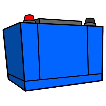Car Battery Cartoon - A cartoon illustration of a Car Battery.