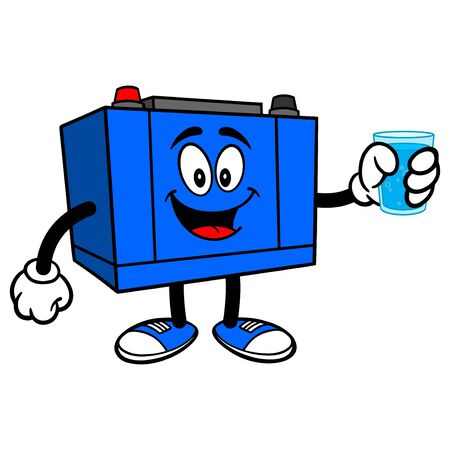 Car Battery with a Glass of Water - A cartoon illustration of a Car Battery Mascot.