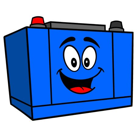 Car Battery Mascot - A cartoon illustration of a Car Battery Mascot.