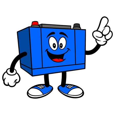 Car Battery Pointing - A cartoon illustration of a Car Battery Mascot.