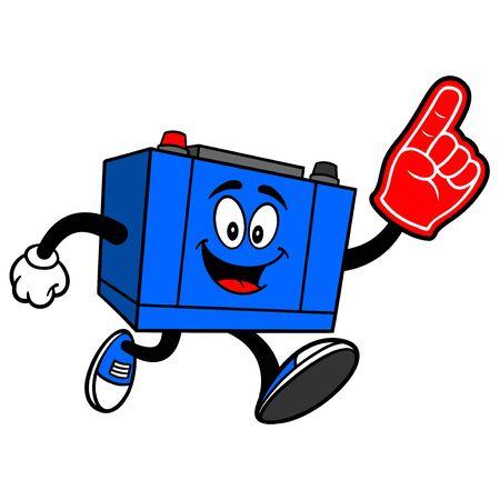 Car Battery Running with a Foam Hand - A cartoon illustration of a Car Battery Mascot.