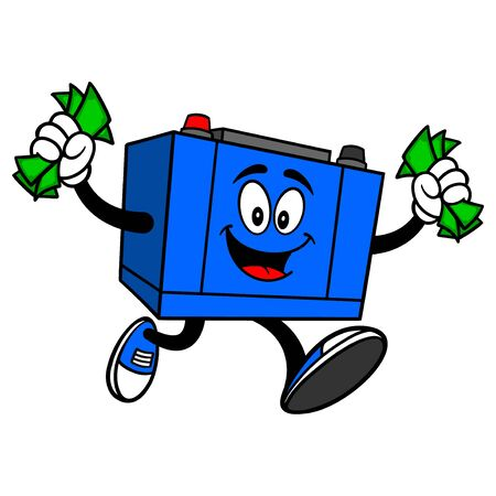 Car Battery Running with Money - A cartoon illustration of a Car Battery Mascot.