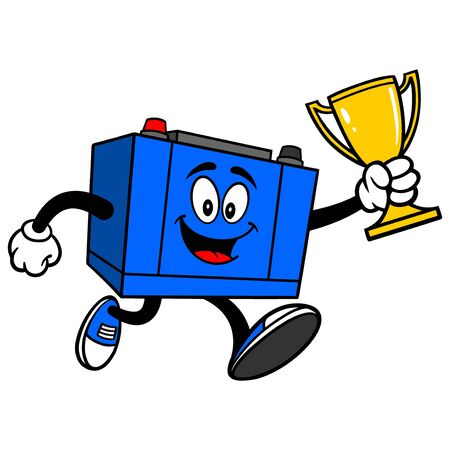 Car Battery Running with a Trophy - A cartoon illustration of a Car Battery Mascot. Çizim