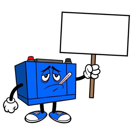 Car Battery with a Sign - A cartoon illustration of a Car Battery Mascot. Çizim